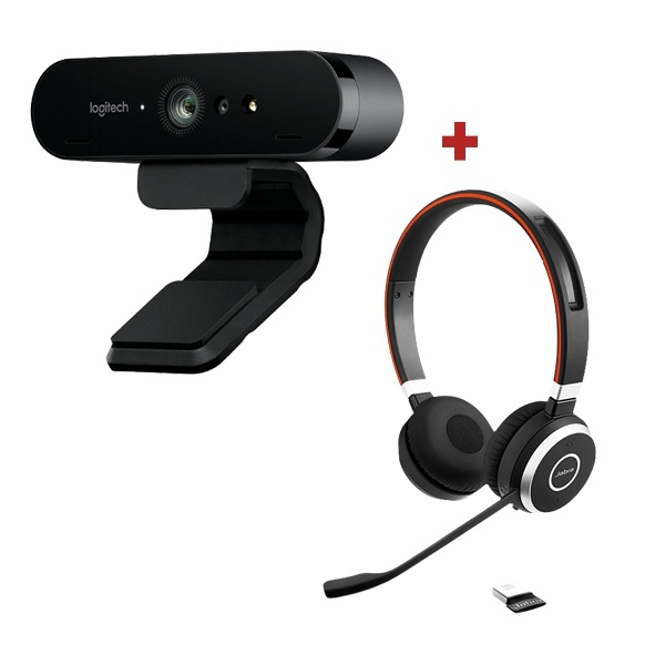 Logitech BRIO Webcam + Jabra Evolve 65 UC
