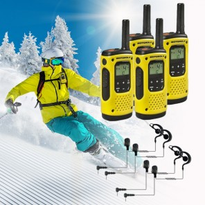 Walkie Talkies Pakket voor Wintersport: 4 Motorola T92 H2O + 4 Oorhaak Headsets