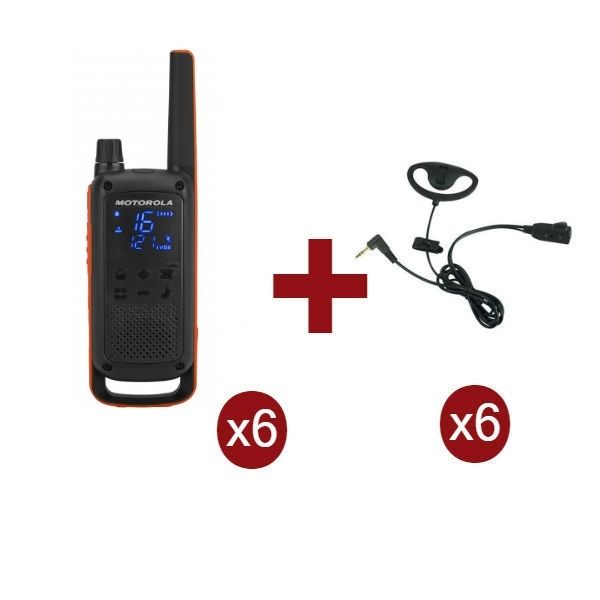 Motorola Talkabout T82 6-Pack + 6x D-shaped headsets