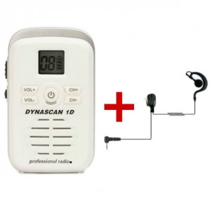 Dynascan 1D White PMR446 Walkie Talkie + G-Shaped Earpiece (1)
