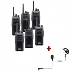 Kenwood TK-3401 - 6 pack + 6 PTT headsets
