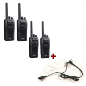 Kenwood TK-3501 - 4 pack + 4 bodyguard PTT headsets