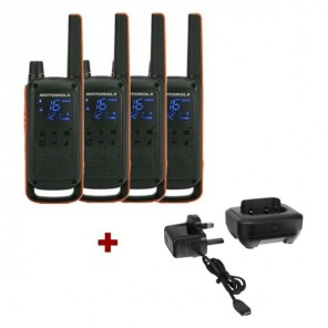 Motorola Talkabout T82 4-Pack + 4x Desk Chargers