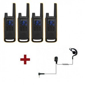 Motorola Talkabout T82 Extreme 4-Pack + 4x Earhook Headset