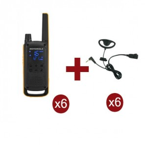 Motorola Talkabout T82 Extreme 6-Pack + 6x D-Shaped Earpieces