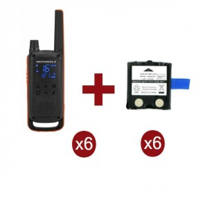 Motorola Talkabout T82 6-Pack + 6x Spare Batteries