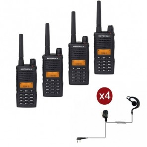 Quad-pack Motorola XT-660 + 4 oorhaak PTT headsets
