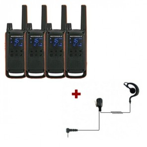 Motorola Talkabout T82 4-Pack + 4x Earhook Headset