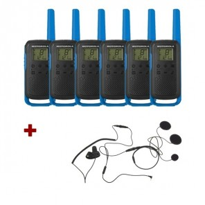 Motorola Talkabout T62 (Blue) 6-Pack + 6x Closed Face Helmet earpiece