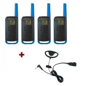 Motorola Talkabout T62 (Blue) 4-Pack + 4x D Shaped Ear Pieces