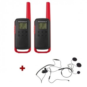 Motorola Talkabout T62 (red) + 2x Closed Face Helmet earpiece