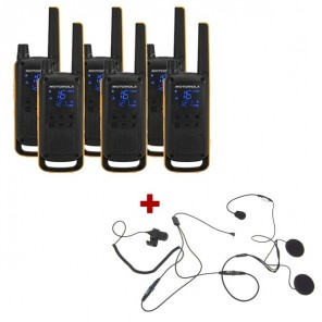 Motorola Talkabout T82 Extreme 6-Pack + 6x Open Face Helmet earpiece